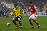 Middlesbrough forward David Nugent (35)  and Rotherham United defender Richard Wood (6)  during the Sky Bet Championship match between Rotherham United and Middlesbrough at the New York Stadium, Rotherham, England on 8 March 2016. Photo by Simon Davies.