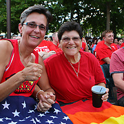 "Judy Rettig and Christine Santoro have been together for 39 years. Together the couple gathered in Lake Eola park during the ""Marriage Equality Rally"" at the Lake Eola bandshell in downtown Orlando, Florida on Thursday, June 27, 2013. Orlando's gay community and its supporters are celebrating the U.S. Supreme Court rulings on gay marriage and the Defense of Marriage Act (DOMA) reversal that constitutionally denied legally married gay couples federal benefits. (AP Photo/Alex Menendez)"