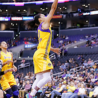 25 May 2014: Los Angeles Sparks guard Kristi Toliver (20) goes for the layup during the Los Angeles Sparks 83-62 victory over the San Antonio Stars, at the Staples Center, Los Angeles, California, USA.