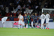 Kevin Trapp (PSG) stopped the ball kicked by Jonathan DELAPLACE (SM Caen), celebrated with Serge Aurier (psg), Maxwell Scherrer Cabelino Andrade (psg), Adrien Rabiot (psg), Presnel Kimpembe (PSG), Blaise Mathuidi (psg), Marcos Aoas Correa dit Marquinhos (PSG), desapointed by Jonathan DELAPLACE (SM Caen), Julien FERET (SM Caen), Ronny RODELIN (SM Caen), Jean-Victor MAKENGO (SM Caen) during the French Championship Ligue 1 football match between Paris Saint-Germain and SM Caen on May 20, 2017 at Parc des Princes stadium in Paris, France - Photo Stephane Allaman / ProSportsImages / DPPI