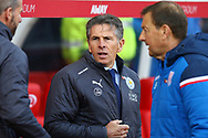 Leicester City Manager Claude Puel looks on from the dugout. Premier league match, Stoke City v Leicester City at the Bet365 Stadium in Stoke on Trent, Staffs on Saturday 4th November 2017.<br /> pic by Chris Stading, Andrew Orchard sports photography.
