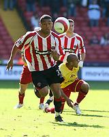 Photo: Mark Stephenson.<br /> Sheffield United v Watford. The Barclays Premiership. 28/04/2007.Sheffield's Colin Kazim- Richards on the ball