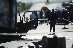 South Africa - Cape Town - 22 June 2020 - The N7 Northbound near Du Noon was closed after a truck was attacked and set alight. This comes as protests continue in the Dunoon area on Monday. Picture: Henk Kruger/African News Agency (ANA)