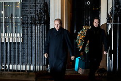 © Licensed to London News Pictures. 03/12/2019. London, UK. President of Turkey, Recep Tayyip Erdogan, leaves 10 Downing Street following a meeting with UK Prime Minister Boris Johnson. International leaders are visiting the UK for to mark the 70th anniversary of the North Atlantic Treaty Organisation (NATO) Photo credit : Tom Nicholson/LNP