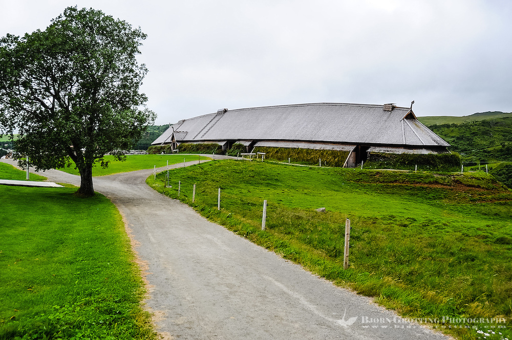 Norway, Lofoten. The Lofotr Viking Museum. A reconstruction of the Chieftain House.