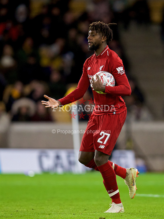 WOLVERHAMPTON, ENGLAND - Monday, January 7, 2019: Liverpool's Divock Origi celebrates scoring the first goal during the FA Cup 3rd Round match between Wolverhampton Wanderers FC and Liverpool FC at Molineux Stadium. (Pic by David Rawcliffe/Propaganda)