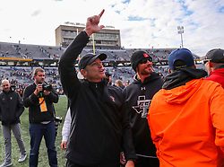 Nov 9, 2019; Morgantown, WV, USA; Texas Tech Red Raiders head coach Matt Wells celebrates with fans after beating the West Virginia Mountaineers at Mountaineer Field at Milan Puskar Stadium. Mandatory Credit: Ben Queen-USA TODAY Sports