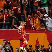 Galatasaray's Yasin Oztekin celebrate his goal during their Turkish Super League derby match Galatasaray between Besiktas at the AliSamiYen Spor Kompleksi TT Arena at Seyrantepe in Istanbul Turkey on Sunday, 24 May 2015. Photo by Aykut AKICI/TURKPIX