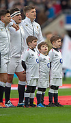 Twickenham, United Kingdom, Saturday, 9th March 2019,  RFU, Rugby, Stadium, England, young mascots line up with the team for the national anthems, before the Guinness Six Nations match, England vs Italy, © Peter Spurrier