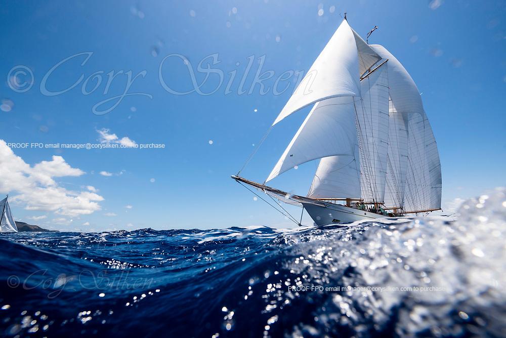 Adix sailing in the Antigua Classic Yacht Regatta, Old Road Race.