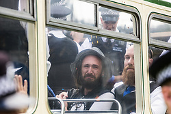 An Extinction Rebellion activist appears distressed on a vintage bus used to block a road junction to the south of London Bridge on the ninth day of Impossible Rebellion protests on 31st August 2021 in London, United Kingdom. Extinction Rebellion are calling on the UK government to cease all new fossil fuel investment with immediate effect.