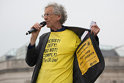 © Licensed to London News Pictures.  24/07/2021. London, UK. Piers Corbyn speaks to anti-vaccination protesters who gather in Trafalgar Square, central London during Freedom Rally.  Photo credit: Marcin Nowak/LNP
