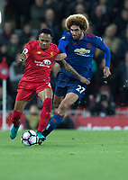 Football - 2016 / 2017 Premier League - Liverpool vs. Manchester United<br /> <br /> Manchester United's Marouane Fellaini and Liverpool's Nathaniel Clyne during the match at Anfield.<br /> <br /> COLORSPORT