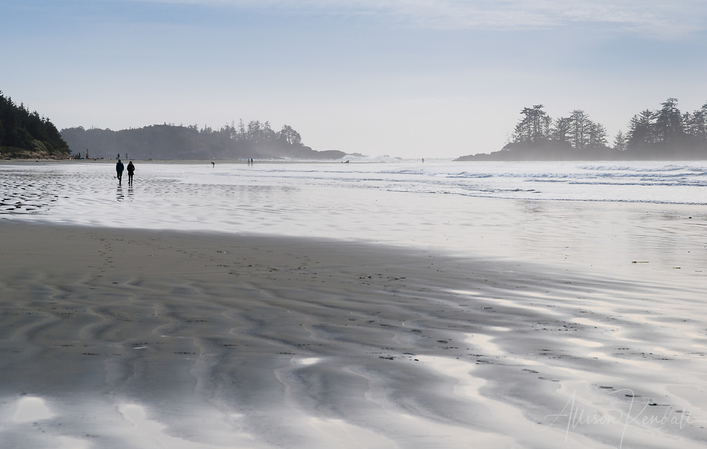 Low tide light and wet sand at Chesterman Beach, Vancouver Island, Canada