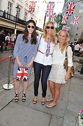 Left to right, JUEANE THIESSEN, KARINA BELYANCHIKOVA and FREDERICA COOK at a street party to celebrate HM The Queen Elizabeth 11 Diamond Jubilee held in Motcomb Street, London on 30th May 2012.