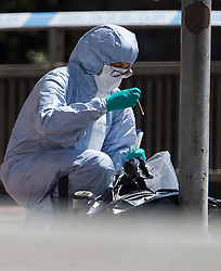 © Licensed to London News Pictures. 22/06/2020. Reading, UK. Police forensics swabbing for evidence on the road surrounding Forbury Gardens in Reading town centre where three people were stabbed to death in a terrorist attack. Several other people were injured in the attack which was carried out by Libyan asylum seeker Khairi Saadallah, who is currently in custody. . Photo credit: Ben Cawthra/LNP