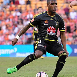 BRISBANE, AUSTRALIA - APRIL 16: Roly Bonevacia of the Phoenix passes the ball during the round 27 Hyundai A-League match between the Brisbane Roar and Wellington Phoenix at Suncorp Stadium on April 16, 2017 in Brisbane, Australia. (Photo by Patrick Kearney/Brisbane Roar)