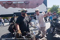 Clint Funderburg of Oregon on his 1916 Indian as he arrives at the hosted lunch stop at Temecula Harley-Davidson on the last day of the Motorcycle Cannonball Race of the Century. Stage-15 ride from Palm Desert, CA to Carlsbad, CA. USA. Sunday September 25, 2016. Photography ©2016 Michael Lichter.