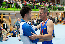 Farewell of Slovenian athlete Aljaz Pegan (with Rok Klavora at Left) at his last competition in his sports career during Slovenian Gymastics Cup 2013 on June 2, 2013 in GIB arena, Ljubljana, Slovenia. (Photo By Vid Ponikvar / Sportida)
