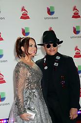 Elvis Crespo, Maribel Vega attending the 19th Annual Latin Grammy Awards 2018, MGM Grand Garden Arena, MGM Grand Hotel & Casino in Las Vegas