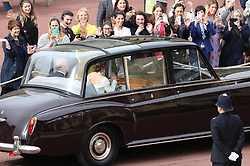 The Duke of York and Princess Eugenie arrive for her wedding to Jack Brooksbank at St George's Chapel in Windsor Castle.