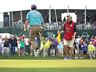05APR15  Johnson Wagner jumps for joy as he birdies 18 during regulation play at Sunday's Final Round of The Shell Houston Open at The Golf Club of Houston in Humble, Texas. (photo credit : kenneth e. dennis/kendennisphoto.com)