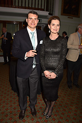 Andrea Webb and Alexander Webb at a party to celebrate the publication of Resolution by The Duke of Rutland and Emma Ellis held at Trinity House, Tower Hill, London England. 10 April 2017.