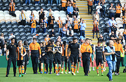 """Hull City players complete a lap of honour after the final whistle during the Premier League match at the KCOM Stadium, Hull. PRESS ASSOCIATION Photo. Picture date: Sunday May 21, 2017. See PA story SOCCER Hull. Photo credit should read: Danny Lawson/PA Wire. RESTRICTIONS: EDITORIAL USE ONLY No use with unauthorised audio, video, data, fixture lists, club/league logos or """"live"""" services. Online in-match use limited to 75 images, no video emulation. No use in betting, games or single club/league/player publications."""