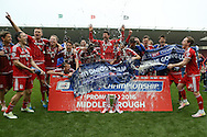 Middlesbrough  celebrate promotion during the Sky Bet Championship match between Middlesbrough and Brighton and Hove Albion at the Riverside Stadium, Middlesbrough, England on 7 May 2016. Photo by Simon Davies.