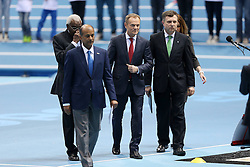 07.03.2014, Ergo Arena, Sopot, POL, IAAF, Leichtathletik Indoor WM, Sopot 2014, Tag 1, im Bild LAMINE DIACK DONALD TUSK JACEK KARNOWSKI // LAMINE DIACK DONALD TUSK JACEK KARNOWSKI during day one of IAAF World Indoor Championships Sopot 2014 at the Ergo Arena in Sopot, Poland on 2014/03/07. EXPA Pictures © 2014, PhotoCredit: EXPA/ Newspix/ Piotr Matusewicz<br /> <br /> *****ATTENTION - for AUT, SLO, CRO, SRB, BIH, MAZ, TUR, SUI, SWE only*****