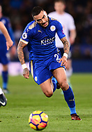 Danny Simpson of Leicester chases down the ball .Premier league match, Leicester City v Tottenham Hotspur at the King Power Stadium in Leicester, Leicestershire on Tuesday 28th November 2017.<br /> pic by Bradley Collyer, Andrew Orchard sports photography.