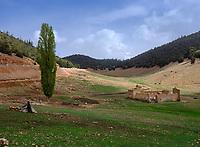 MEKNES - TAFILALET, MOROCCO - CIRCA APRIL 2017: Moroccan countryside and mountainscape