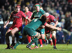 Scarlets lock, Jake Ball charges at Leicester Tigers scrum half Ben Youngs - Photo mandatory by-line: Dougie Allward/JMP - Mobile: 07966 386802 - 16/01/2015 - SPORT - Rugby - Leicester - Welford Road - Leicester Tigers v Scarlets - European Rugby Champions Cup