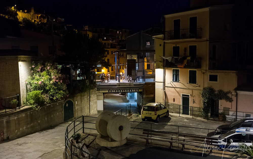 Nighttime scenes from the streets and alleys of Vernazza, Italy