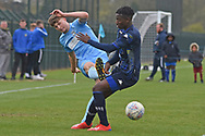 Leeds United forward Henri Kumwenda battles for possession during the U18 Professional Development League match between Coventry City and Leeds United at Alan Higgins Centre, Coventry, United Kingdom on 13 April 2019.