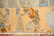 The Minoan ' Camp Stool' wall art fresco from the West vwing of Knossos Palace, 1450-1300 BC. Heraklion Archaeological Museum.<br /> <br /> This Minoan fresco probably depicted a typical banquet at Knossos Palace held in the Upper Hall of the West Wing. Figures seated on 'camp stools' are raising cups and kylikes. A female figure with Mediterranean features wearing vivid make up named ' La Parisienne' by Arthur Evans, has a large 'sacred knot' bunched behind her head and maybe she was a priestess. .<br /> <br /> If you prefer to buy from our ALAMY PHOTO LIBRARY  Collection visit : https://www.alamy.com/portfolio/paul-williams-funkystock/minoan-art-artefacts.html . Type -   Heraklion    - into the LOWER SEARCH WITHIN GALLERY box. Refine search by adding background colour, place, museum etc<br /> <br /> Visit our MINOAN ART PHOTO COLLECTIONS for more photos to download  as wall art prints https://funkystock.photoshelter.com/gallery-collection/Ancient-Minoans-Art-Artefacts-Antiquities-Historic-Places-Pictures-Images-of/C0000ricT2SU_M9w