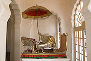 India, Rajasthan, Jodhpur, Mehrangarh fort Elephant seat (Hathi Howda) on display in the museum inside the fort