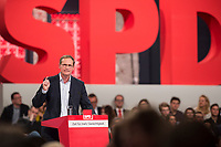 19 MAR 2017, BERLIN/GERMANY:<br /> Michael Mueller, SPD , Reg. Buergermeister Berlin, haelt eine Rede, a.o. Bundesparteitag, Arena Berlin<br /> IMAGE: 20170319-01-005<br /> KEYWORDS: party congress, social democratic party, speech, Michael Müller