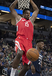 April 23, 2018 - Minneapolis, MN, USA - Houston Rockets' Clint Capela (15) dunks the ball in the fourth quarter as they play the Minnesota Timberwolves in Game 4 of their series Monday, April 23, 2018 at the Target Center in Minneapolis, Minn. The Rockets won, (Credit Image: © Carlos Gonzalez/TNS via ZUMA Wire)