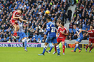 Middlesbrough FC defender Daniel Ayala heads to set up the goal for Middlesbrough FC midfielder Albert Adomah during the Sky Bet Championship match between Brighton and Hove Albion and Middlesbrough at the American Express Community Stadium, Brighton and Hove, England on 19 December 2015. Photo by Phil Duncan.
