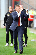 Crewe Alexandra Manager Steve Davis applauds the crowd prior to kick off.  Skybet football league one match, Crewe Alexandra v Port Vale at the Alexandra Stadium in Crewe on Saturday 13th Sept 2014.<br /> pic by Chris Stading, Andrew Orchard sports photography.