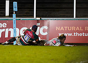 Sale Sharks wing Marland Yarde dives over to score a try during a Gallagher Premiership Round 7 Rugby Union match, Friday, Jan. 29, 2021, in Leicester, United Kingdom. (Steve Flynn/Image of Sport)