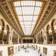 Main hall with skylight ceiling at the Royal Museums of Fine Arts in Belgium (in French, Musées royaux des Beaux-Arts de Belgique), one of the most famous museums in Belgium. The complex consists of several museums, including Ancient Art Museum (XV - XVII century), the Modern Art Museum (XIX  XX century), the Wiertz Museum, the Meunier Museum and the Museé Magritte Museum.