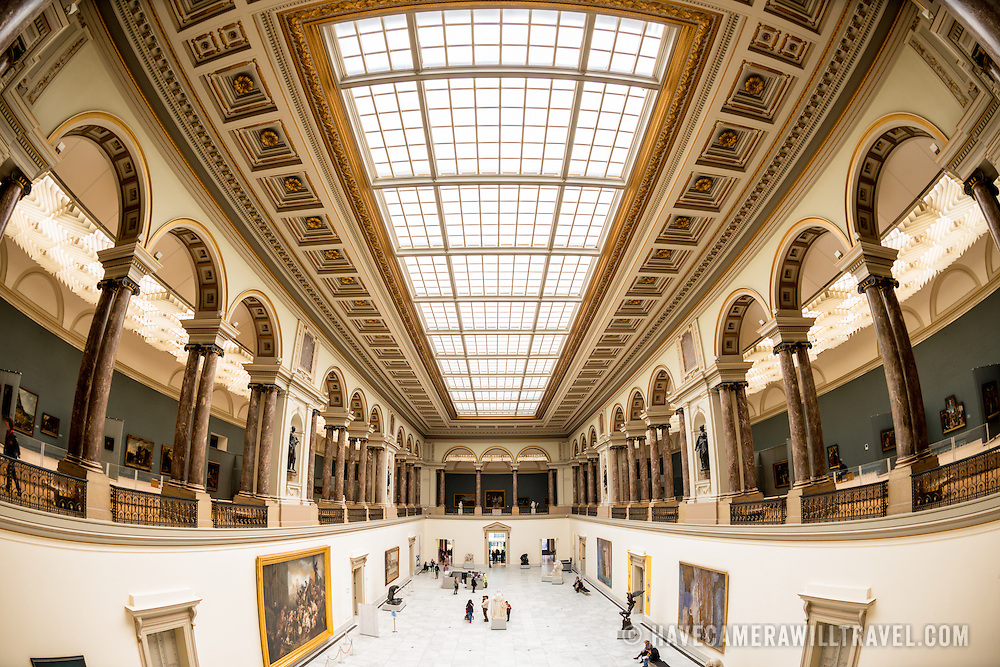 Main hall with skylight ceiling at the Royal Museums of Fine Arts in Belgium (in French, Musées royaux des Beaux-Arts de Belgique), one of the most famous museums in Belgium. The complex consists of several museums, including Ancient Art Museum (XV - XVII century), the Modern Art Museum (XIX ­ XX century), the Wiertz Museum, the Meunier Museum and the Museé Magritte Museum.