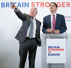 Church House, Dean's Yard, Westminster, London, April 12th 2016. Britain Stronger in Europe hold a keynote speech by former Foreign Secretary David Miliband on the foreign policy implications of Britain leaving Europe. Pictured: Former Home Secretary Alan Johnson takes questions from the floor for David Miliband.<br /> ©Paul Davey<br /> FOR LICENCING CONTACT: Paul Davey +44 (0) 7966 016 296 paul@pauldaveycreative.co.uk
