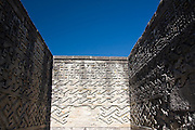 Stone mosaics in elaborate geometrical patterns adorn the walls of the Zapotec ruins of Mitla, Oaxaca state, Mexico on July 18, 2008.