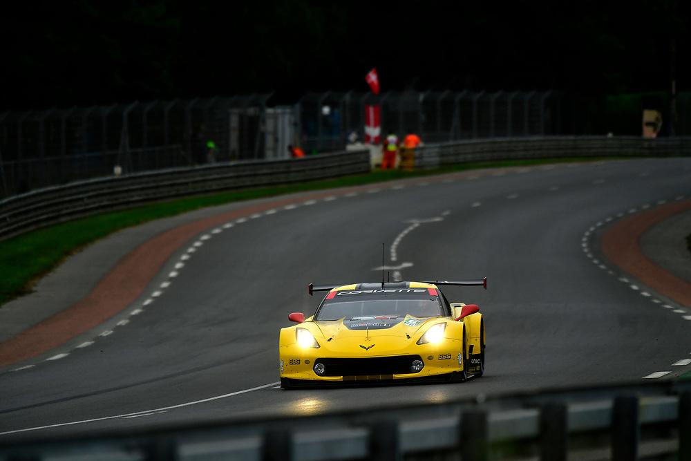 #64 Corvette Racing Chevrolet Corvette C7.R: Oliver Gavin, Tommy Milner, Marcel Fassler<br /> Thursday 14 June 2018<br /> 24 Hours of Le Mans<br /> 2018 24 Hours of Le Mans<br /> Circuit de la Sarthe  FR<br /> World Copyright: Scott R LePage