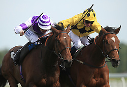 Orin Swift (right) ridden by Rob Hornby wins the Starlight Wishes Handicap Stakes from Sky Marshal (left) ridden by Pat Cosgrave at Newbury Racecourse.