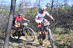 WELLINGTON SOUTH AFRICA - MARCH 23: Annie Last and Mariske Strauss during stage five's 39km time trial on March 23, 2018 in Wellington, South Africa. Mountain bikers gather from around the world to compete in the 2018 ABSA Cape Epic, racing 8 days and 658km across the Western Cape with an accumulated 13 530m of climbing ascent, often referred to as the 'untamed race' the Cape Epic is said to be the toughest mountain bike event in the world. (Photo by Dino Lloyd)