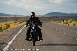 """Andreas """"Andy"""" Kaindl of Southern Germany riding his 1924 Henderson Deluxe during Stage 13 (257 miles) of the Motorcycle Cannonball Cross-Country Endurance Run, which on this day ran from Elko, NV to Meridian, Idaho, USA. Thursday, September 18, 2014.  Photography ©2014 Michael Lichter."""